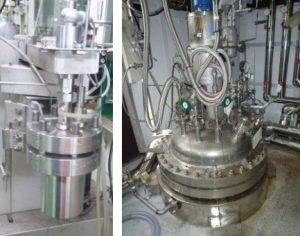 (左)1 L加圧反応機(右)500 L加圧反応機